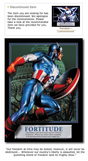 Sorry, PUNISHER has been discontinued... how about a nice CAPTAIN AMERICA poster?