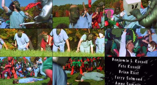 Collage of stills from 'The Swarm', a section of Kaiju Big Battel's new video, THE SHOCKING TRUTH