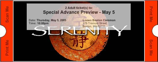 Ticket to the advance screening of SERENITY in Boston