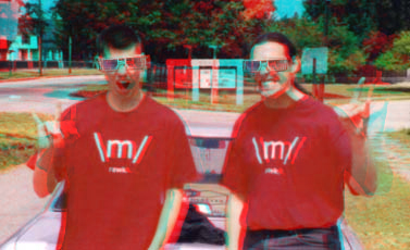 Pete and Ben, RAWK!ing in 3-D.  Red/Cyan glasses required.