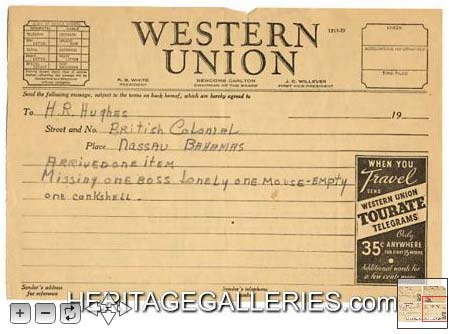 Telegram from Katherine Hepburn to Howard Hughes