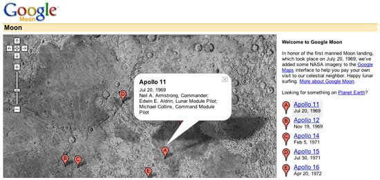 Screencap of the Google Moon interface.
