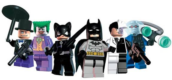 Lego figurines of the Penguin, the Joker, Catwoman, Batman, Two-Face, and Mr. Freeze.