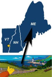 Ned Flanders gestures to Maine, which does not share a border with Vermont