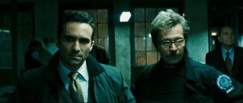 Gotham's mayor and Lt. James Gordon in The Dark Knight