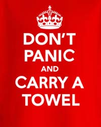 ThinkGeek: Don't Panic and Carry A Towel
