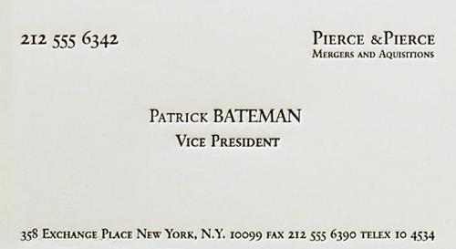 Business Card: American Pyscho: Patrick Bateman