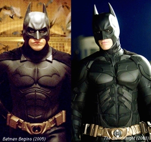 Small changes in the Batsuit between Batman Begins and The Dark Knight