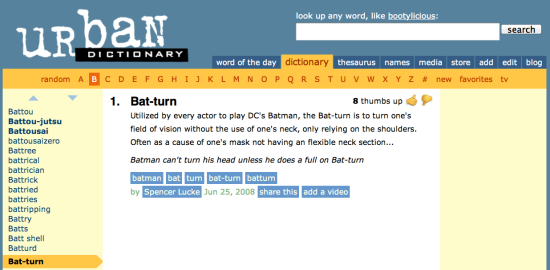 Urban Dictionary the Bat-Turn