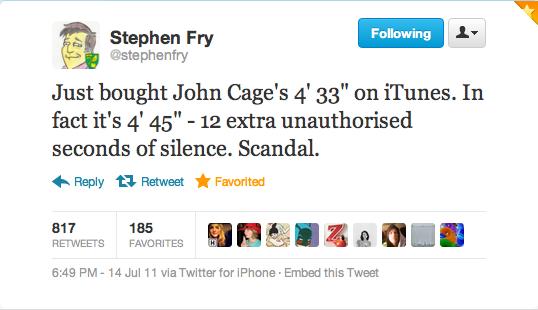 Twitter: Stephen Fry: 14 July 2011