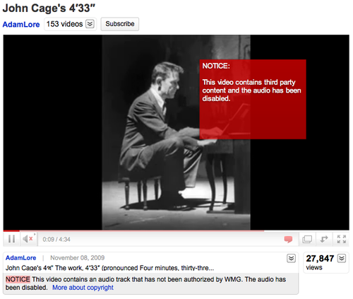 YouTube: John Cage's 4m33s: Uploaded by AdamLore