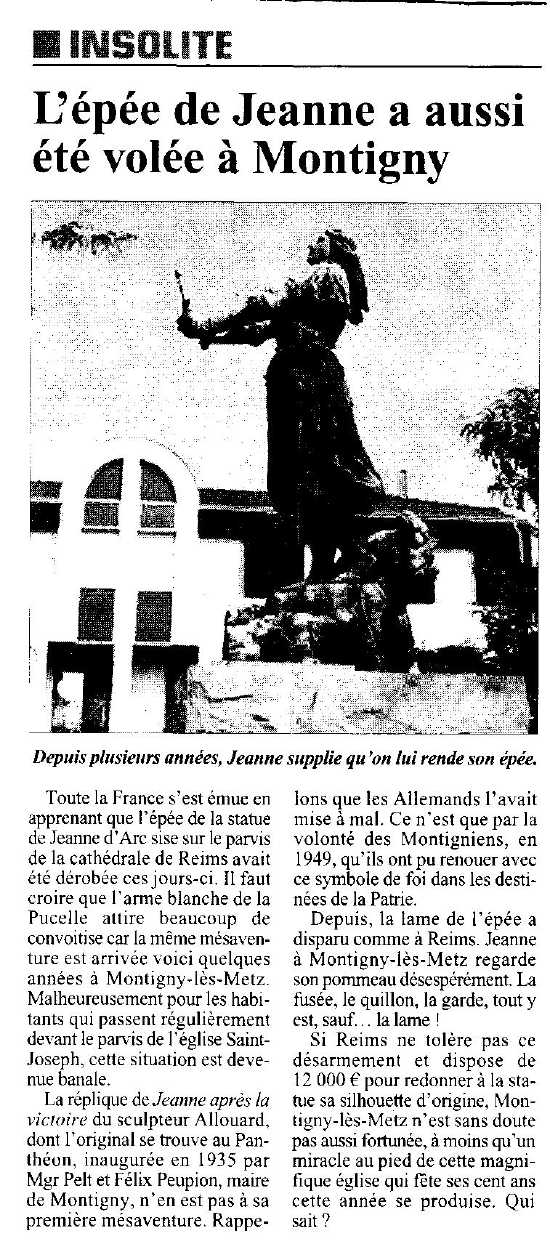 French article about the missing blade of a statue of Jehanne