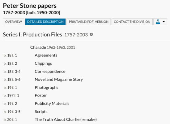 Listing of the New York Public Library archives relating to Charade in the Peter Stone collection
