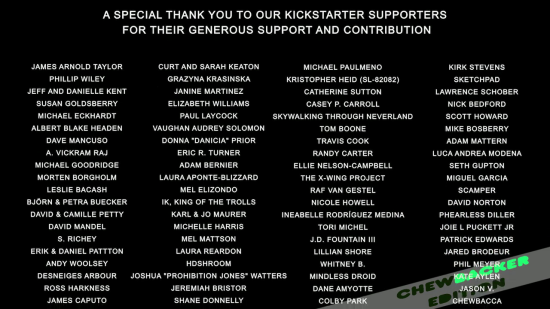 STANDING IN THE STARS: THE PETER MAYHEW STORY -- Kickstarter credits