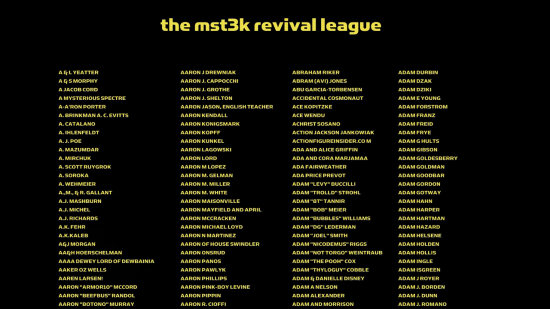 MST3K: THE REVIVAL -- Kickstarter backers