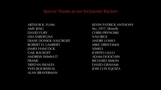 REVENGEANCE -- Kickstarter credits