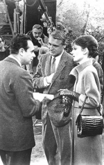 Stanley Donen speaks with Cary Grant and Audrey Hepburn behind the scenes of Charade.
