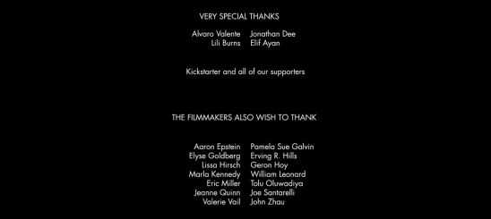 THE DROWNING -- Kickstarter credits